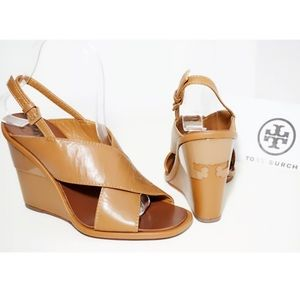 🆕TORY BURCH WEDGE Crisscross Logo Brown Leather
